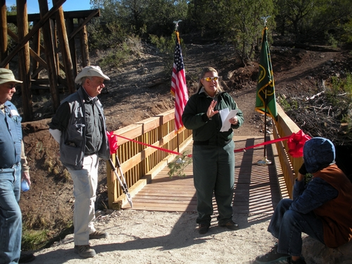 Marcie Kelton, of the U.S. Forest Service, speaking to the crowd.