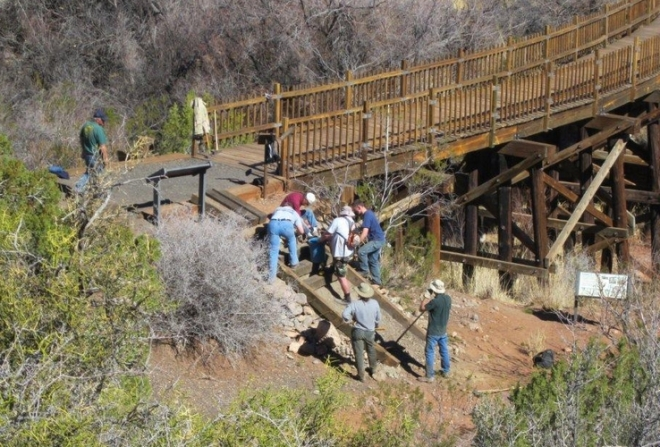 Working at the Trestle Steps